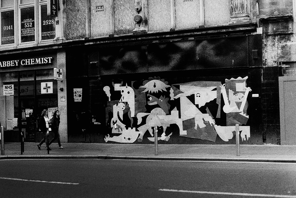 Guernica recreated with Lino flooring left overs, Argyle Street, Glasgow ©Samuel F.
