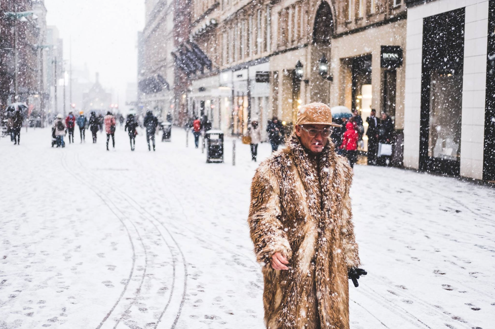 A fur coat under the snow