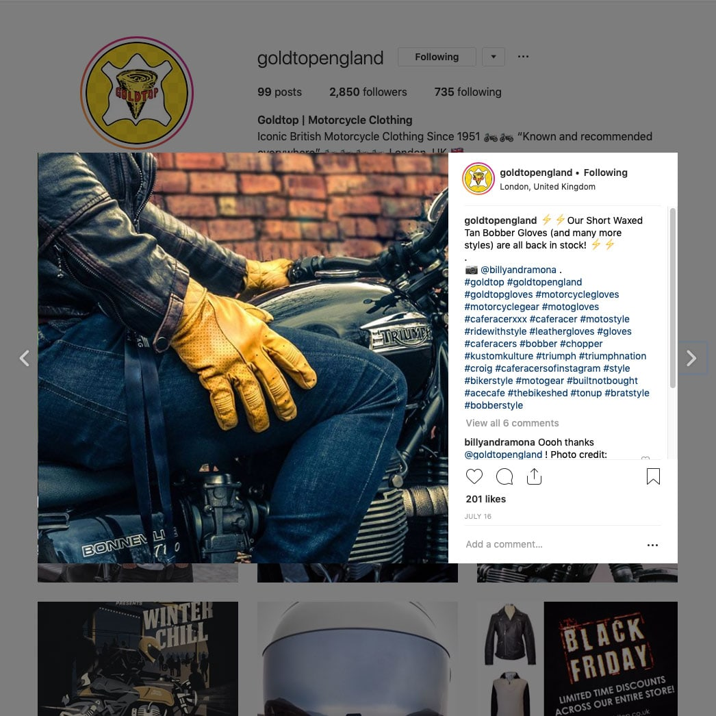 Photo for Goldtop England motorcycle clothing. ©2019 Samuel F.